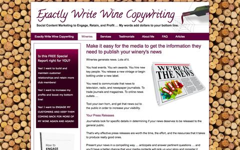 Screenshot of Press Page winecopywriter.com - Exactly Write wine copywriting helps wineries engage the news media - captured Oct. 3, 2014