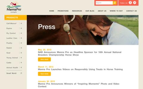 Screenshot of Press Page mannapro.com - Animal Nutrition and Care News Releases | Manna Pro Products, LLC - captured Nov. 3, 2015