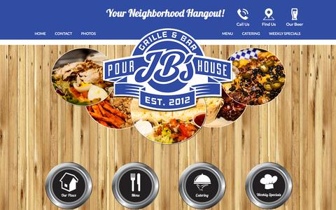 Screenshot of Home Page jbspourhouse.com - JB's Pour House – Your Neighborhood Hangout | Sports Bar | BBQ - captured Sept. 19, 2014