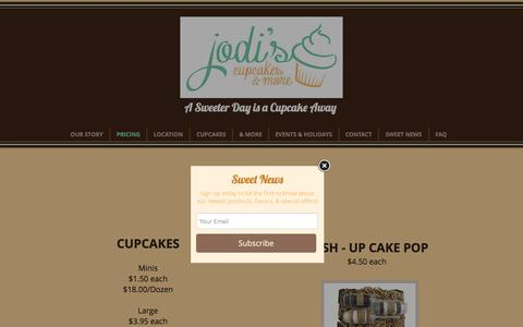 Screenshot of Pricing Page jodiscupcakesandmore.com - Cupcakes - Boca Raton | Jodi's Cupcakes and more - captured June 8, 2017