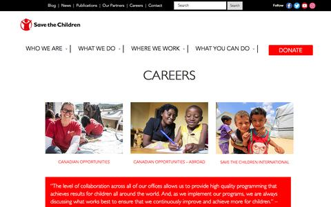 Screenshot of Jobs Page savethechildren.ca - Careers – Save The Children Canada - captured Nov. 19, 2016