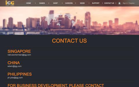 Screenshot of Contact Page igg.com - Contact Us - I GOT GAMES - Global Free Online Games Portal - captured July 13, 2018