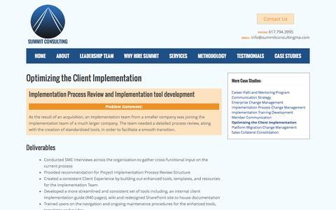 Screenshot of Case Studies Page summitconsultingma.com - Change Management Process   Summit Case Studies - captured Dec. 8, 2016