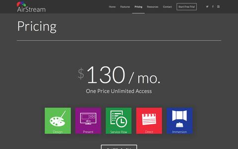 Screenshot of Pricing Page airstreamsoftware.com - Pricing - AirStream Software - captured March 2, 2016