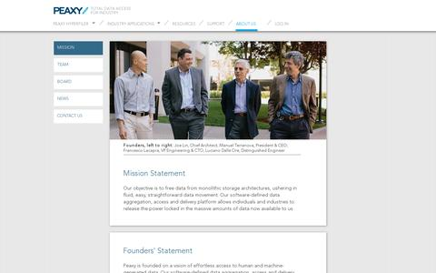 Screenshot of About Page peaxy.net - Mission and Founders' statements at Peaxy, Inc. - captured July 19, 2014
