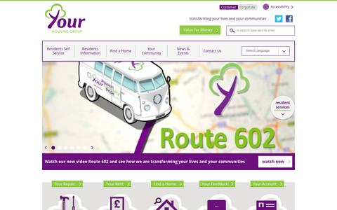 Screenshot of Home Page yourhousinggroup.co.uk - Home | Your Housing Group - captured Sept. 30, 2014