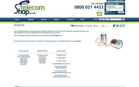 Screenshot of Contact Page thetelecomshop.co.uk - Contact Us | Telephone Systems, Phone Systems, Telephone Handsets, Telephone Headsets, BT Telephones, CCTV, Avaya - captured Sept. 19, 2014