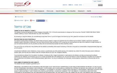 Screenshot of Terms Page contactsingapore.sg - Terms of Use - Contact Singapore - captured Nov. 3, 2014