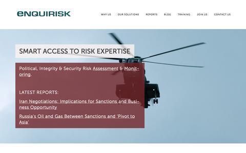 Screenshot of Home Page enquirisk.com - Enquirisk - captured Sept. 30, 2014