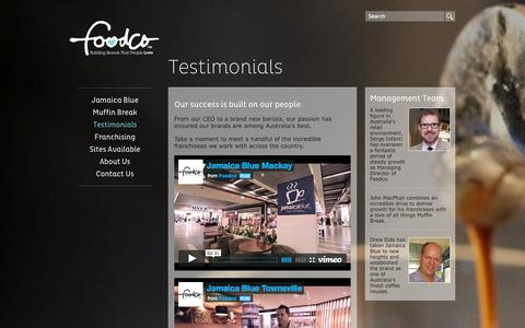 Screenshot of Testimonials Page foodco.com.au - Testimonials | Foodco - captured Sept. 30, 2014
