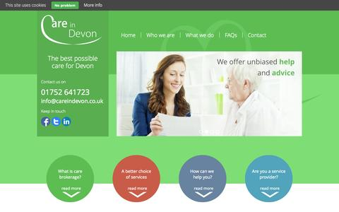 Screenshot of Privacy Page careindevon.co.uk - Privacy Policy - Care in Devon - captured Oct. 22, 2014