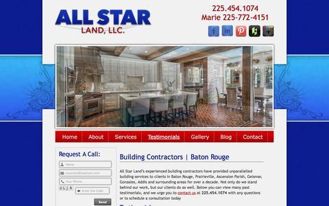 Screenshot of Testimonials Page allstarlandllc.com - Building Contractors Baton Rouge Prairieville Ascension Parish Geismar - captured May 29, 2017