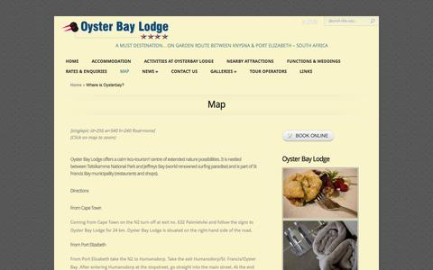 Screenshot of Maps & Directions Page oysterbaylodge.co.za - Where is Oysterbay?   Oyster Bay Lodge - captured Oct. 7, 2014