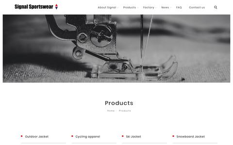 Screenshot of Products Page signal-sportswear.com - Products | Signal Sportswear - captured Dec. 11, 2018