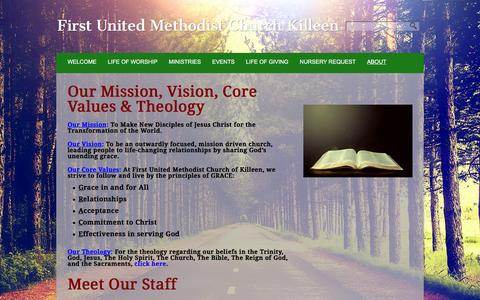 Screenshot of About Page fumckilleen.com - About «  First United Methodist Church Killeen - captured Feb. 10, 2016