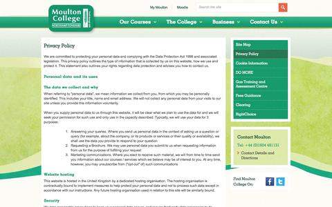Screenshot of Privacy Page moulton.ac.uk - Privacy Policy - Moulton College - captured Sept. 26, 2014