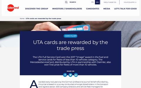 Screenshot of Press Page edenred.com - UTA cards are rewarded by the trade press   Edenred - captured July 8, 2019