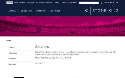 Screenshot of Services Page stoneking.co.uk - Legal Services Bath | Solicitors Somerset | Cambridge | London - captured Dec. 15, 2016
