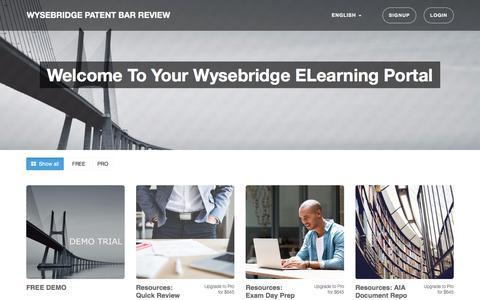Screenshot of Trial Page Login Page wysebridge.com - Wysebridge Patent Bar Review - captured Oct. 26, 2017