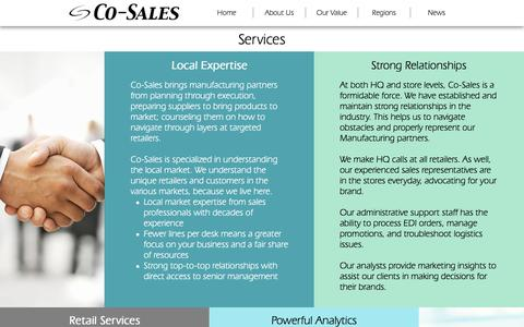 Screenshot of Services Page co-sales.com - Services   Co-Sales - captured Aug. 7, 2017