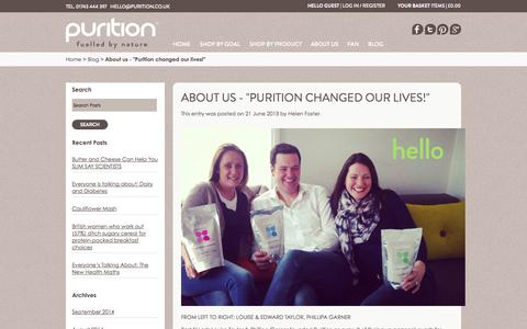 "Screenshot of Team Page purition.co.uk - About us - ""Purition changed our lives!"" / Purition Blog - captured Oct. 3, 2014"