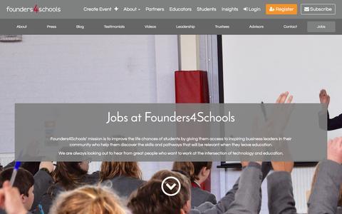 Screenshot of Jobs Page founders4schools.org.uk - Jobs | founders4schools - captured June 6, 2017