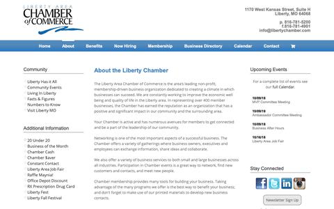 Screenshot of About Page libertychamber.com - About | Liberty Chamber of Commerce - captured Sept. 28, 2018