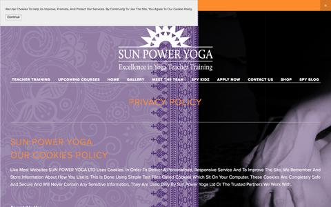 Screenshot of Privacy Page sun-power-yoga.co.uk - PRIVACY POLICY — SUN POWER YOGA - Yoga Teacher Training London, Manchester , Leicester - captured Oct. 1, 2017