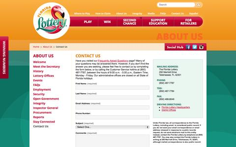 Screenshot of Contact Page flalottery.com - Florida Lottery - Contact Us - captured Oct. 29, 2014