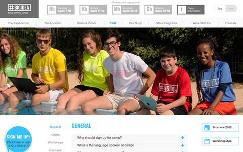Screenshot of FAQ Page bigidea.co.il - FAQ | Big Idea | #1 Israeli Summer Camps - captured Nov. 2, 2014