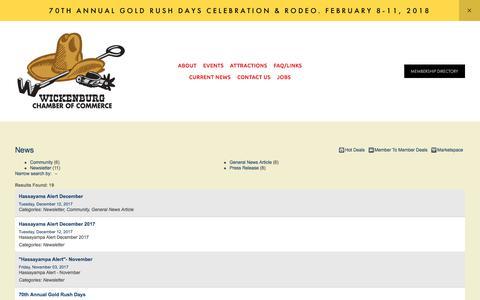 Screenshot of Press Page wickenburgchamber.com - News - — Wickenburg Chamber of Commerce - captured Jan. 16, 2018