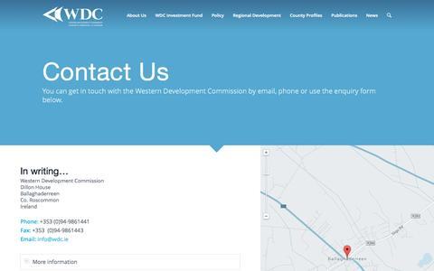 Screenshot of Contact Page wdc.ie - Contact - Western Development Commission - captured Nov. 3, 2014