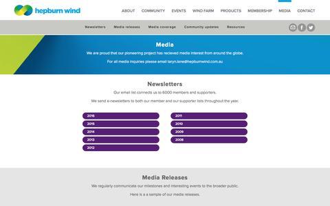 Screenshot of Press Page hepburnwind.com.au - Media - Hepburn Wind - captured Nov. 7, 2016