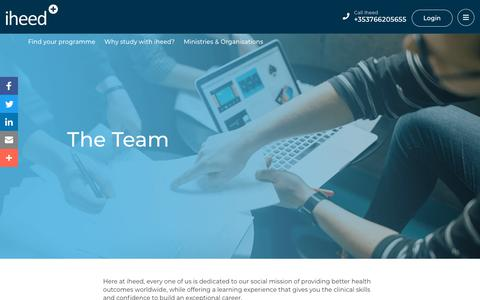 Screenshot of Team Page iheed.org - Meet the iheed Team - Dedicated to better health outcomes worldwide - iheed - captured Oct. 13, 2018