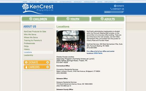 Screenshot of Locations Page kencrest.org - KenCrest: About Us - Locations - captured Sept. 30, 2014
