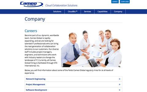 Screenshot of Jobs Page cameoglobal.com - Careers - captured Oct. 28, 2014