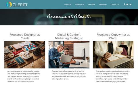 Screenshot of Jobs Page cleriti.com - Careers at Cleriti - captured July 19, 2018