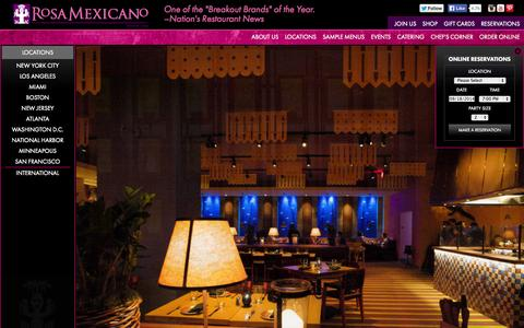 Screenshot of Locations Page rosamexicano.com - Rosa Mexicano | Fine Dining Restaurant | Best Mexican Food - captured Sept. 19, 2014