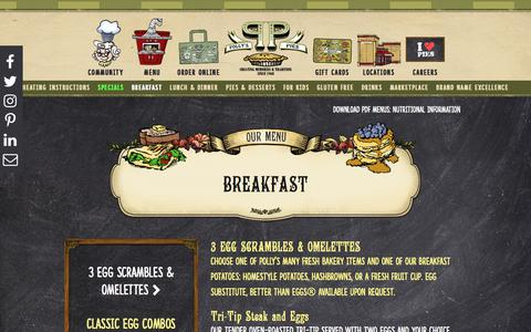 Screenshot of Menu Page pollyspies.com - Breakfast - Polly's Pies - Southern California Restaurant and Bakery - captured July 19, 2018