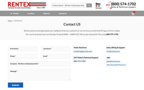 Screenshot of Contact Page rentex.com - Contact Us - Rentex Computer & Audio Visual Rentals - captured Sept. 24, 2016