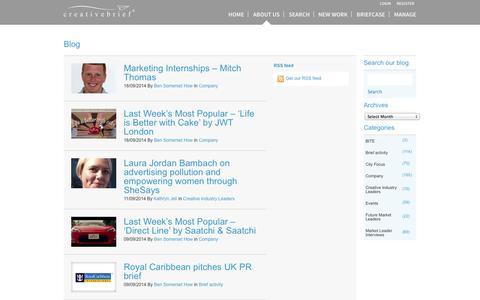 Screenshot of Blog creativebrief.com - creativebrief - Intelligent Marketing Connections – blog - captured Sept. 23, 2014