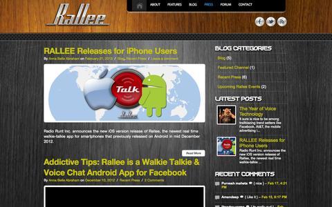 Screenshot of Press Page rall.ee - Recent Press Archives | RalleeRallee - captured Sept. 17, 2014