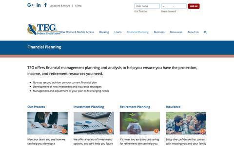 Screenshot of tegfcu.com - Financial Planning – TEG Federal Credit Union - captured Dec. 2, 2017