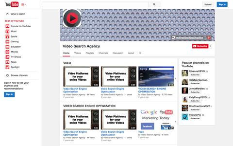 Screenshot of YouTube Page youtube.com - Video Search Agency  - YouTube - captured Nov. 5, 2014