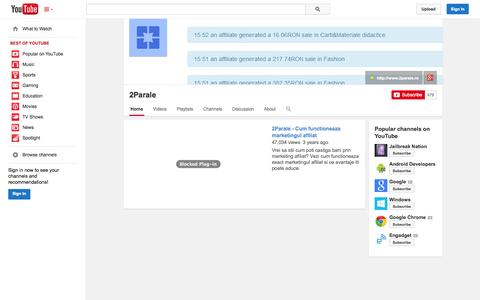Screenshot of YouTube Page youtube.com - 2Parale  - YouTube - captured Oct. 27, 2014