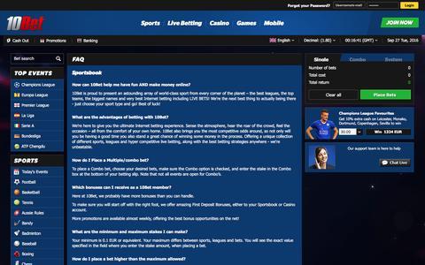 Screenshot of FAQ Page 10bet.com - FAQ | Sports Betting Online: Football Bets at 10Bet.com Internet Betting - captured Sept. 27, 2016