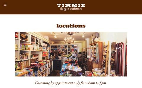 Screenshot of Locations Page timmie.ca - Locations — Timmie | Dog Boutique, Grooming & Food in Toronto - captured Dec. 2, 2016