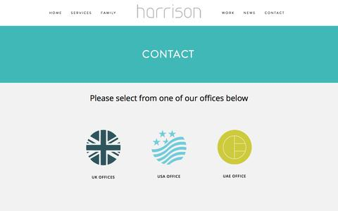 Screenshot of Contact Page harrison.hn - Contact — Harrison Design - captured Oct. 27, 2016