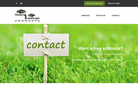 Screenshot of Contact Page modernlandscapeconcepts.com - Get In Touch With Us - Modern Landscape Concepts - captured Oct. 20, 2018