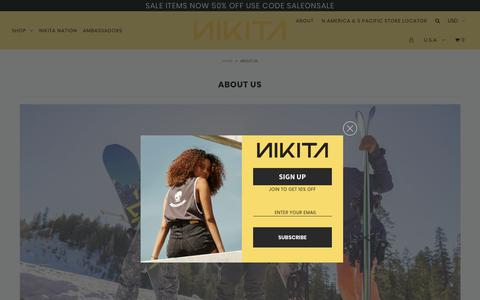 Screenshot of About Page nikitaclothing.com - ABOUT US – Nikita Clothing - captured June 28, 2019